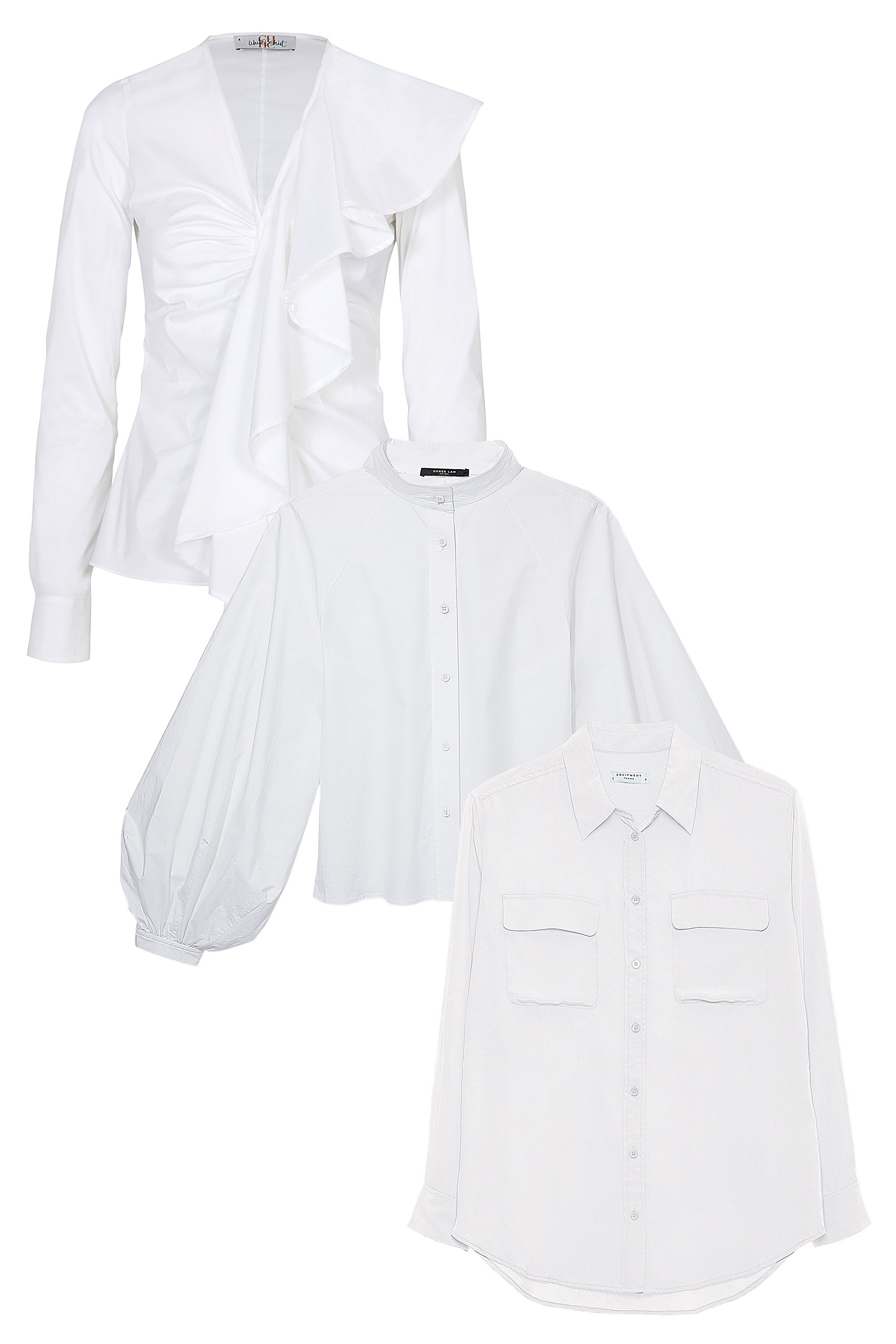 "<p><strong data-redactor-tag=""strong"" data-verified=""redactor"">From top to bottom: </strong><em data-redactor-tag=""em"" data-verified=""redactor"">Cotton shirt, CH Carolina Herrera, $365, visit carolinaherrera.com. Linen-blend blouse, Derek Lam, $1,195, at Derek Lam, NYC.  Silk blouse, Equipment, $218, visit equipmentfr.com</em><em data-redactor-tag=""em"" data-verified=""redactor""></em></p>"