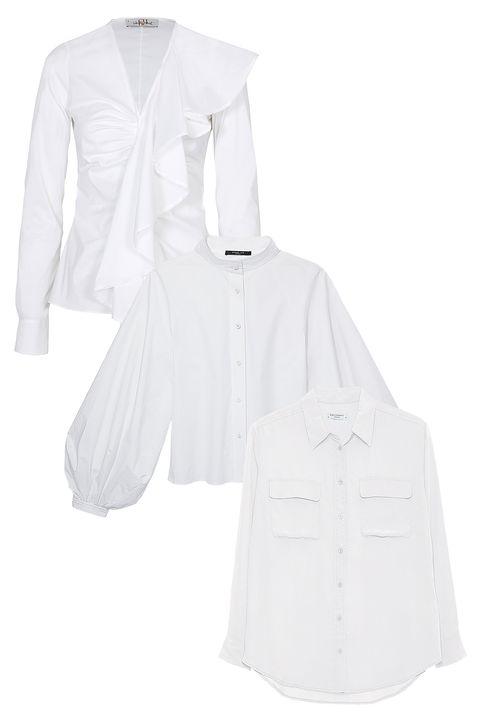 """<p><strong data-redactor-tag=""""strong"""" data-verified=""""redactor"""">From top to bottom: </strong><em data-redactor-tag=""""em"""" data-verified=""""redactor"""">Cotton shirt, CH Carolina Herrera, $365, visit carolinaherrera.com. Linen-blend blouse, Derek Lam, $1,195, at Derek Lam, NYC.  Silk blouse, Equipment, $218, visit equipmentfr.com</em><em data-redactor-tag=""""em"""" data-verified=""""redactor""""></em></p>"""