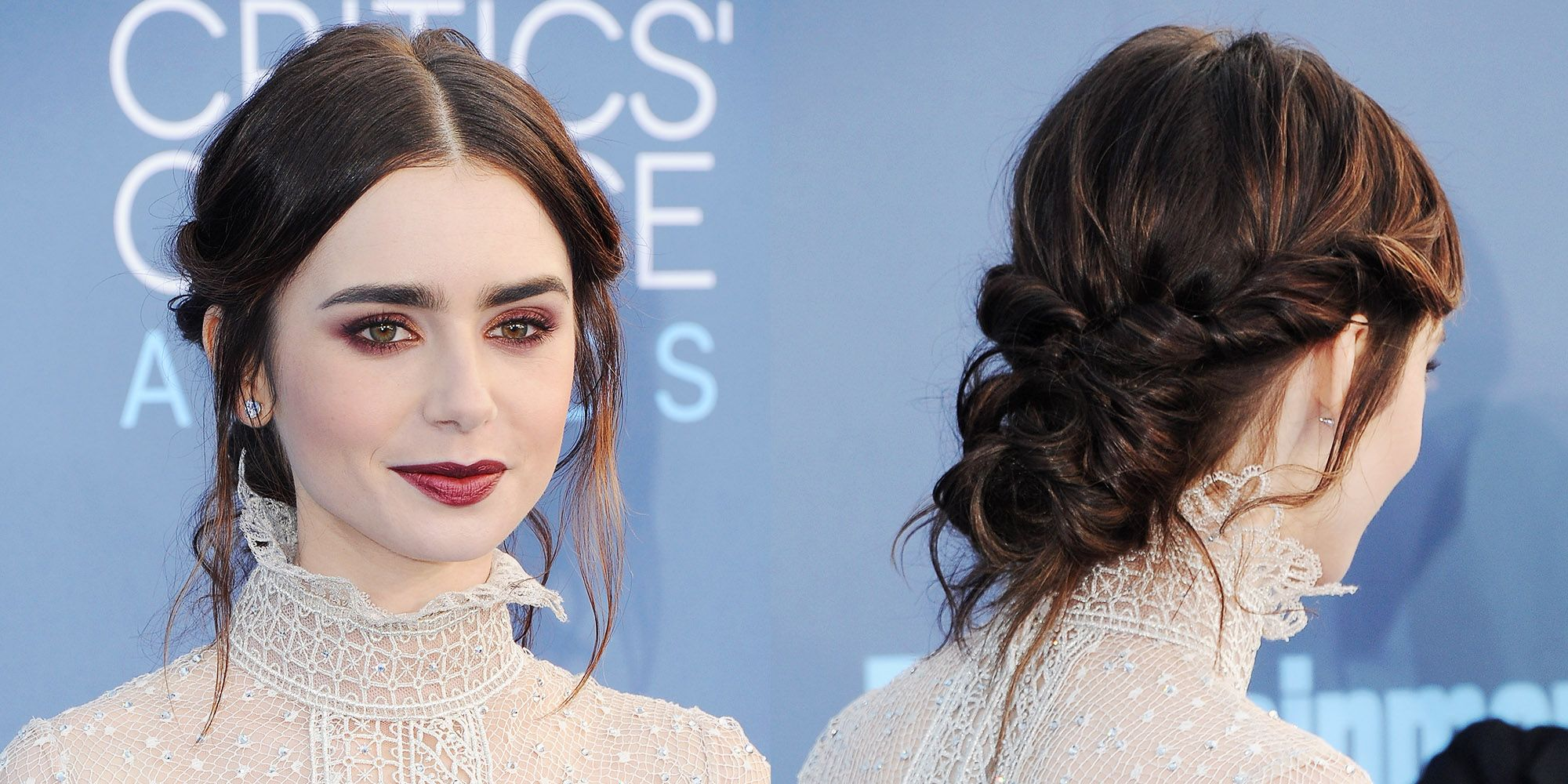 <p>Lily Collins' hairstyle combines a sleek middle part with a messy low bun. After parting your hair in the middle and curling the bottom half of your hair, twist both sides back and twirl random sections into a bun, securing where necessary. Leave a few stray pieces at the front to frame your face. </p>