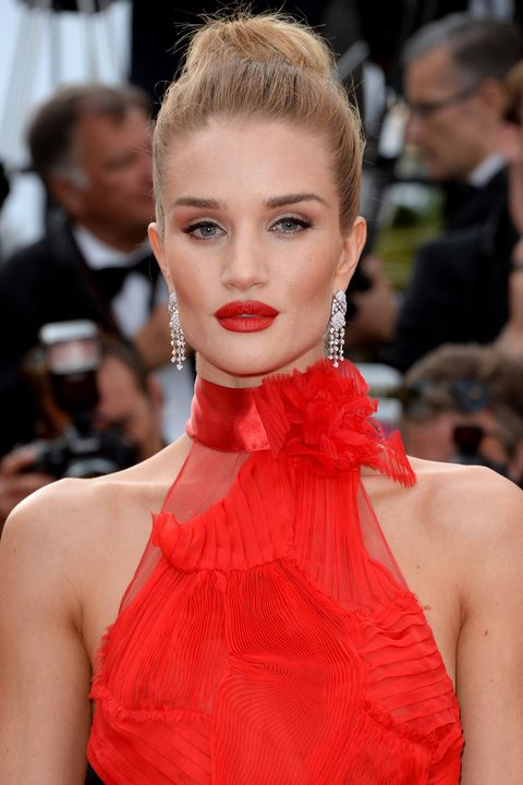 <p>A bright red dress and matching lipstick was picture-perfect for Cannes.</p>