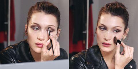 Watch Bella Hadid Take Makeup Lessons