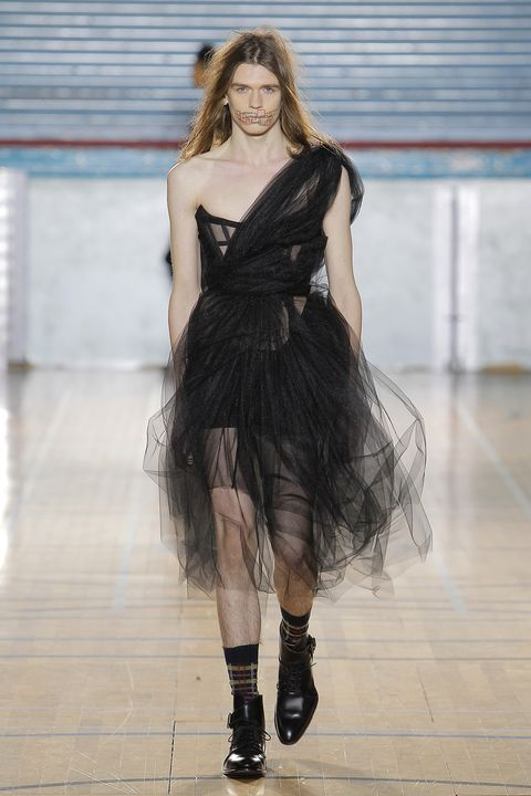 Punk prom dresses make an appearance at vivienne westwoods new vivienne westwoods fw17 joint collection featured a male model in a tulle dress altavistaventures Image collections