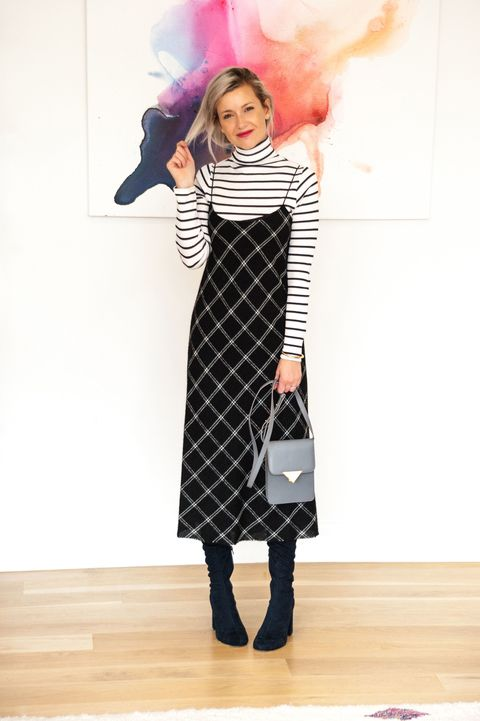 "<p>Slip dress and striped turtleneck with a&nbsp;<a href=""http://www.blackseacollection.com/shop/view/140:bond-mini"" data-tracking-id=""recirc-text-link"">mini shoulder bag</a> and <a href=""http://www.stuartweitzman.com/products/tieland/walnut-suede/?DepartmentId=731&amp;DepartmentGroupId=1"" data-tracking-id=""recirc-text-link"">over the knee boots. </a></p>"