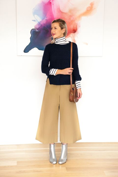 "<p>Turtleneck striped top layered with cashmere sweater and cropped pants accessorized with <a href=""http://www.zara.com/us/en/sale/woman/shoes/ankle-boots/silver-high-heel-ankle-boots-c541578p4143505.html"" data-tracking-id=""recirc-text-link"">silver ankle boots</a> and <a href=""http://www.cambridgesatchel.com/en-us/cross-body-bags/the-saddle-bag/SDLNA1154BBH10101.html?cgid=cross-body-bags"" data-tracking-id=""recirc-text-link"">satchel saddle bag.</a> </p>"