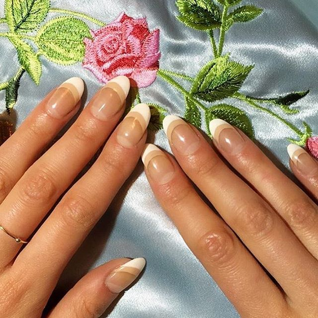 """<p>""""French mani is a classic timeless look, but the tips don't necessary have to be white!"""" Yasumi says. The <a href=""""http://www.elle.com/beauty/makeup-skin-care/g28714/french-manicure-nail-designs/?visibilityoverride"""" target=""""_blank"""" data-tracking-id=""""recirc-text-link"""">design</a> options are endless, but this minimal look (worn by none other than ELLE.com's&nbsp&#x3B;beauty director, Julie Schott) is our next go-to.&nbsp&#x3B;<br></p><p>1.Apply a clear&nbsp&#x3B;base coat.&nbsp&#x3B;</p><p>2.&nbsp&#x3B;Apply a&nbsp&#x3B;thick nude line below the free edge and let it dry.</p><p>3. Fill in the rest of the tips with&nbsp&#x3B;white polish.&nbsp&#x3B;</p>"""