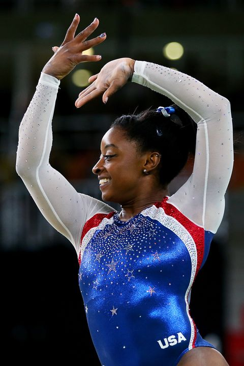 Sportswear, Gymnastics, Sports, Gesture, Championship, Athlete, Leotard, Individual sports, Artistic gymnastics, Celebrating,