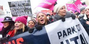 Chelsea Handler, Maria Bello, and Charlize Theron participates in the Women's March on Main Street in Park City, Utah