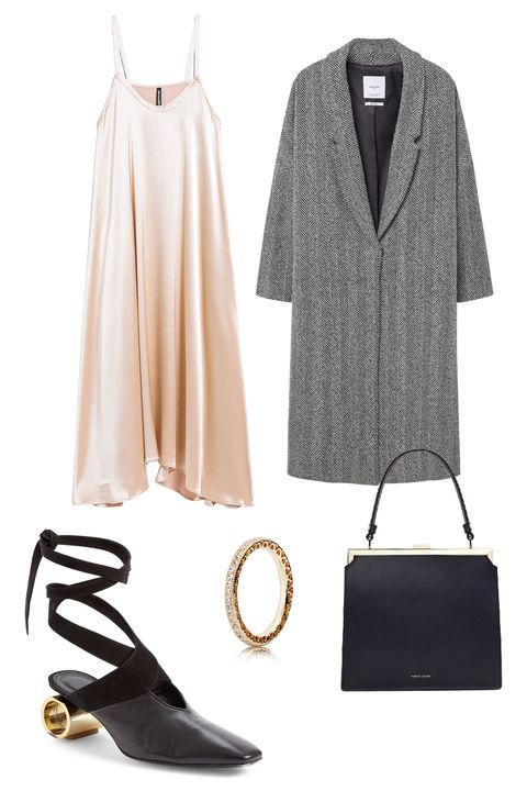 "<p>When you've got a table booked at the hottest restaurant in town, go for simple but sexy in a slinky slip dress. Add a pair of killer heels and an oversize coat and we guarantee you'll spark a little PDA. </p><p><em data-redactor-tag=""em"" data-verified=""redactor"">Veda Cleo Dress, $425, <a href=""http://needsupply.com/womens/clothing/cleo-dress.html"" target=""_blank"" data-tracking-id=""recirc-text-link"">needsupply.com</a>; Mango Herringbone Pattern Wool Coat, $150, <a href=""http://shop.mango.com/US/p0/woman/clothing/coats/coats/herringbone-pattern-wool-coat?id=73035530_99&amp;n=1&amp;s=prendas.abrigos"" target=""_blank"" data-tracking-id=""recirc-text-link"">mango.com</a>; Mansur Gavriel Black Elegant Bag, $750, <a href=""https://shopsuperstreet.com/collections/womens-bags/products/black-vegetable-tanned-elegant-bag"" target=""_blank"" data-tracking-id=""recirc-text-link"">shopsuperstreet.com</a>; PANDORA Jewelry Radiant Hearts 14K Gold Ring, $300, <a href=""https://estore-us.pandora.net/en-us/radiant-hearts-of-pandora-14k-gold-and-clear-cz/150186CZ.html?cid=BrndMedia_Drop7_Jan_19_2017_Elle_Esquire_CustomContent_EditorialPost_14KGoldofPAndoraRing_Rings_PDP_150186CZ_Product Radiant Hearts_Earrings_PDP_150186CZ_Product"" target=""_blank"" data-tracking-id=""recirc-text-link"">pandora.net</a>; J.W. Anderson Cylinder Heel Ballet Slide, $1,050, <a href=""http://shop.nordstrom.com/s/j-w-anderson-cylinder-heel-ballet-slide-women/4496990?origin=category-personalizedsort"" target=""_blank"" data-tracking-id=""recirc-text-link"">nordstrom.com</a></em></p>"