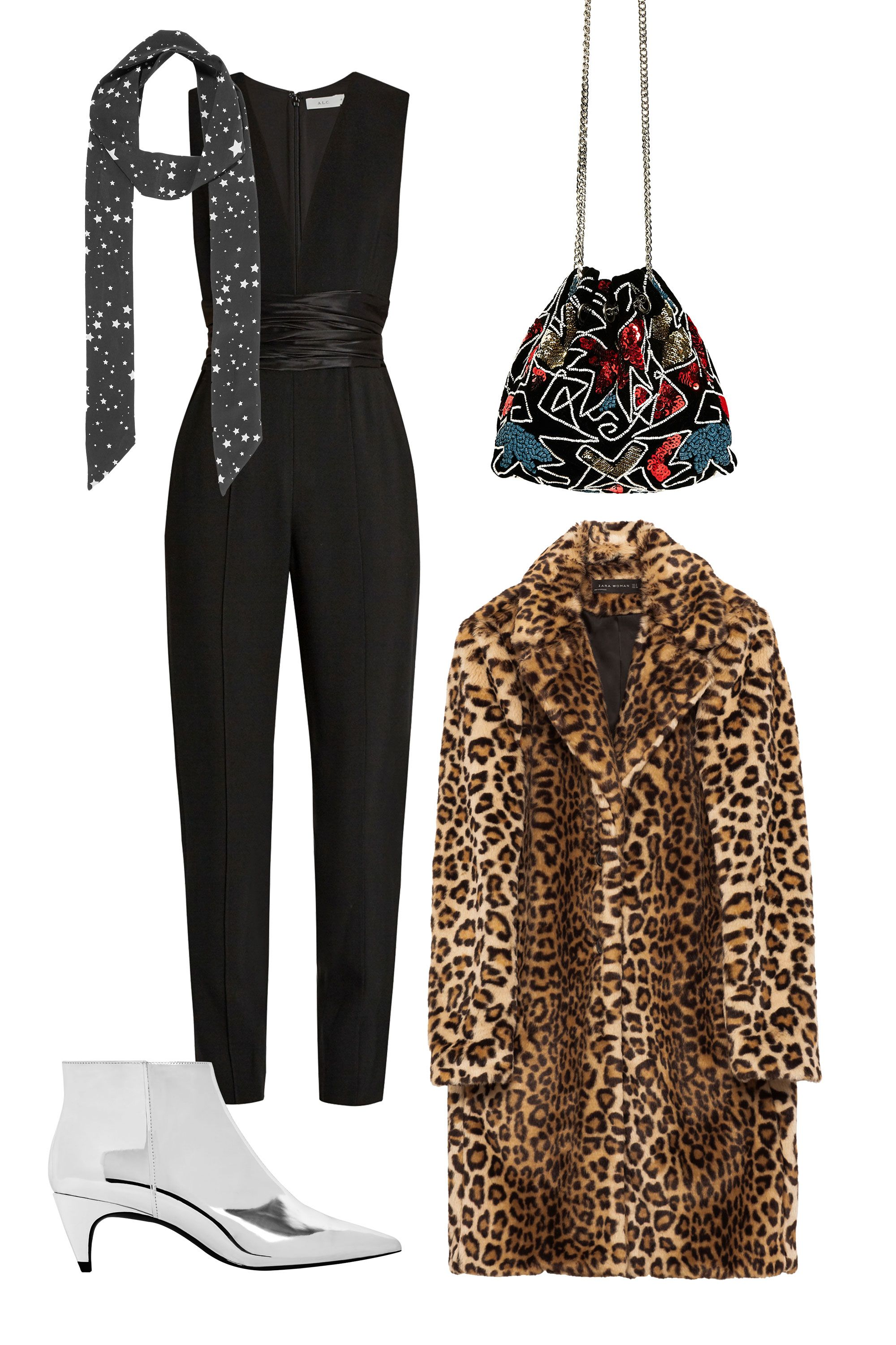 "<p>If your date night involves a red velvet rope and a to-die-for DJ, shimmy your way into his heart in eye-catching outerwear atop your favorite LBJ—little black jumpsuit. </p><p><em data-redactor-tag=""em"" data-verified=""redactor"">Kate Moss for Equipment Bria Printed Washed-Silk Scarf, $80, <a href=""https://www.net-a-porter.com/us/en/product/809057/kate_moss_for_equipment/bria-printed-washed-silk-scarf"" target=""_blank"" data-tracking-id=""recirc-text-link"">netaporter.com</a>; A.L.C. Beni Ruched-Waist Crepe Jumpsuit, $695, <a href=""http://www.matchesfashion.com/us/products/A-L-C--Beni-ruched-waist-crepe-jumpsuit--1080425"" target=""_blank"" data-tracking-id=""recirc-text-link"">matchesfashion.com</a>; Zara Evening Bucket Bag, $70, <a href=""http://www.zara.com/us/en/woman/bags/view-all/evening-bucket-bag-c734144p3926019.html"" target=""_blank"" data-tracking-id=""recirc-text-link"">zara.com</a>; Zara Faux Fur Leopard Coat, $169, <a href=""http://www.zara.com/us/en/woman/outerwear/view-all/faux-fur-leopard-coat-c733882p3978516.html"" target=""_blank"" data-tracking-id=""recirc-text-link"">zara.com</a>; Zara Laminated Mid Heel Ankle Boots, $70, <a href=""http://www.zara.com/us/en/woman/evening/laminated-mid-heel-ankle-boots-c661506p4065360.html"" target=""_blank"" data-tracking-id=""recirc-text-link"">zara.com</a></em></p>"