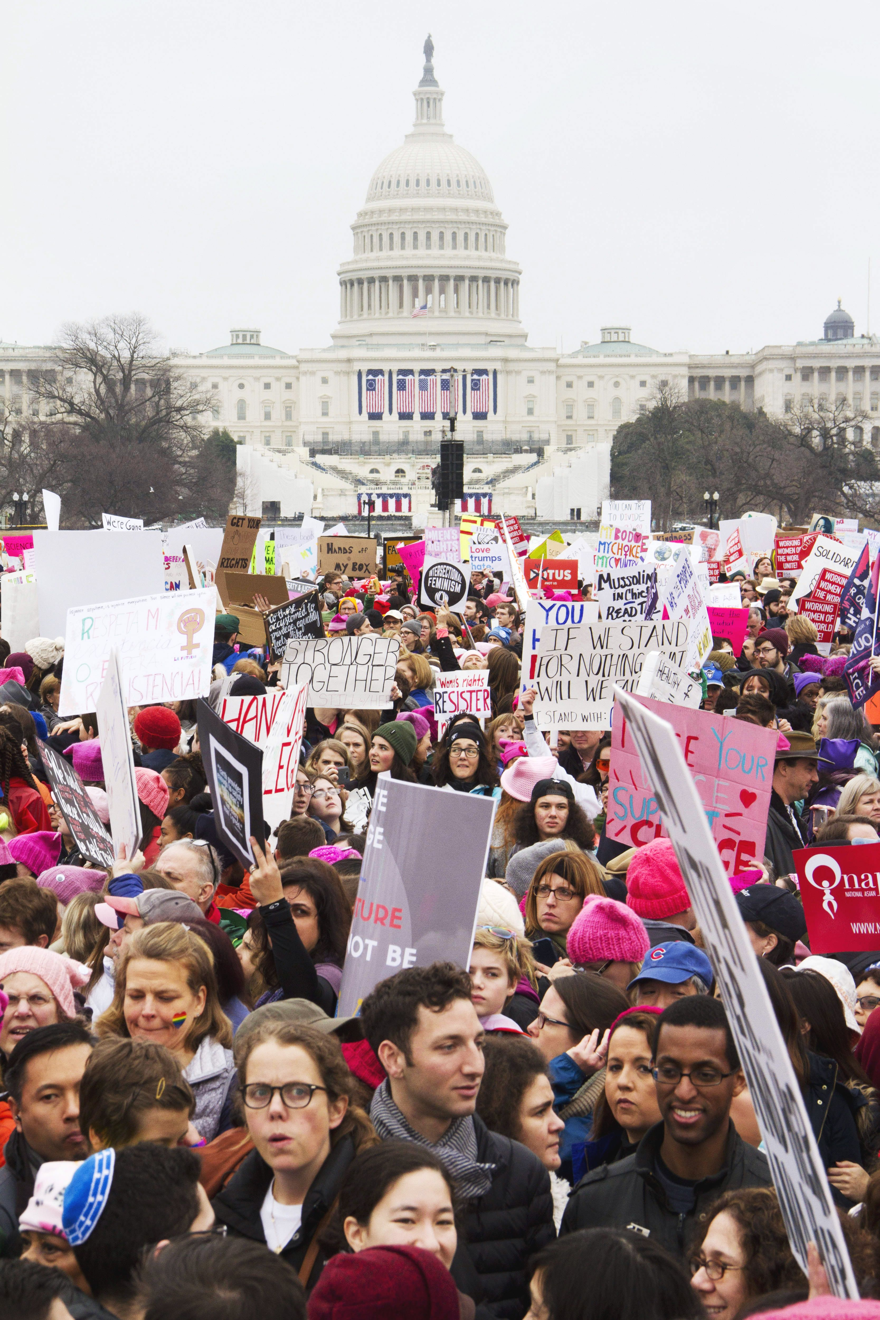 women's march in front of capitol building