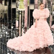 Clothing, Dress, Sleeve, Shoulder, Bridal clothing, Textile, Pink, Wedding dress, Gown, Formal wear,
