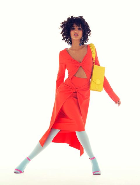 "<p> Poplin dress, Emilio Pucci, $3,718, at Emilio Pucci boutiques nationwide. Drusy earrings, Christopher Kane, price on request. Alligator clutch, Salvatore Ferragamo, price on request. Nylon tights, We Love Colors, $14. Patent leather sandals, Manolo Blahnik, $725.<span class=""redactor-invisible-space"" data-verified=""redactor"" data-redactor-tag=""span"" data-redactor-class=""redactor-invisible-space""></span></p>"