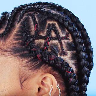 Cheek, Hairstyle, Skin, Forehead, Eyebrow, Style, Eyelash, Braid, Organ, Earrings,