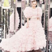 Clothing, Dress, Sleeve, Bridal clothing, Shoulder, Textile, Photograph, Pink, Gown, Wedding dress,