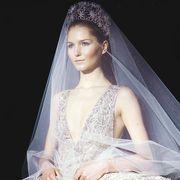 Clothing, Bridal veil, Veil, Hairstyle, Bridal clothing, Forehead, Eyebrow, Bridal accessory, Formal wear, Wedding dress,