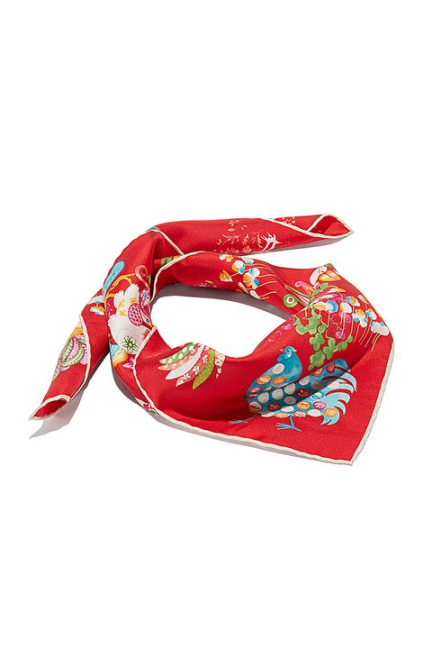 "<p>Salvatore Ferragamo Roosters in Flowers Print Scarf, $230;&nbsp;<a href=""http://www.ferragamo.com/shop/en/usa/special-collections/lunar-new-year/fo-naive-70-659534--1#pId=6148914691233757498"" target=""_blank"">ferragamo.com</a></p>"