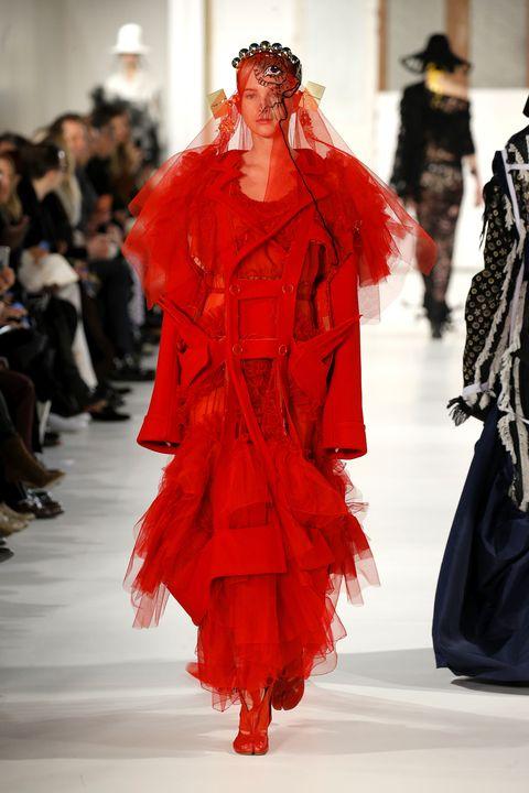 Fashion show, Runway, Red, Style, Fashion model, Winter, Costume design, Waist, Fashion, Model,