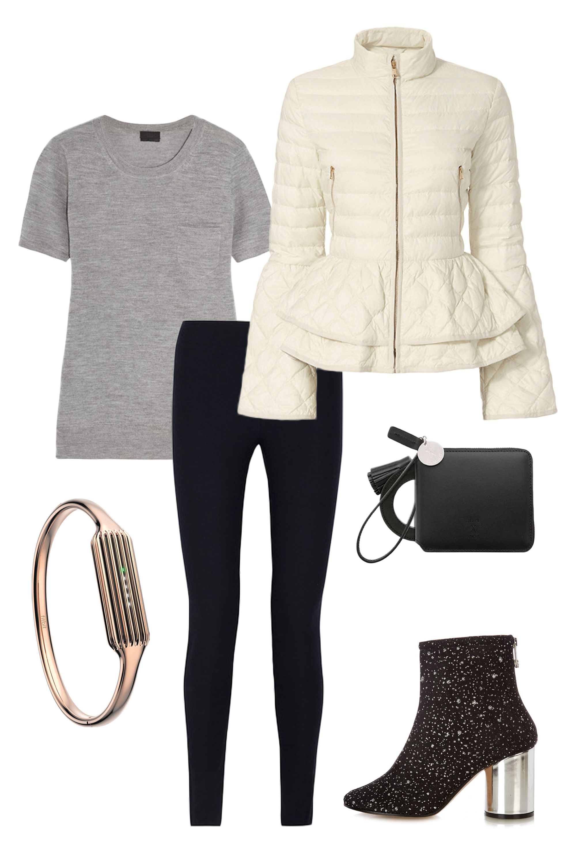"<p>We've all had those days: tons of errands to run followed by big plans for fun later and no time to change in between. Find the balance between comfy and cool by pairing black leggings with a super soft t-shirt and a statement-making (and waist-whittling) puffer jacket. Sleek accessories—like embellished mid-heel booties, a rose gold Fitbit bracelet, and a miniature wristlet purse—dress everything up just enough without looking too precious. </p><p><em data-redactor-tag=""em"" data-verified=""redactor"">J. Crew Cashmere T-Shirt, $90, <a href=""https://www.net-a-porter.com/us/en/product/665004"" target=""_blank"" data-tracking-id=""recirc-text-link"">net-a-porter.com</a>; Helmut Lang Stretch-Twill Leggings, $119, <a href=""https://www.theoutnet.com/en-US/Shop/Product/Helmut-Lang/Stretch-twill-leggings/766860"" target=""_blank"" data-tracking-id=""recirc-text-link"">theoutnet.com</a>; Elizabeth Roberts Anne Puffer, $695, <a href=""https://www.intermixonline.com/product/elizabeth+roberts+anne+puffer.do?sortby=ourPicks&from=Search&"" target=""_blank"" data-tracking-id=""recirc-text-link"">intermixonline.com</a>; Joseph & Stacey Oz Round Zip Wallet Slim, $118, <a href=""http://us.wconcept.com/oz-round-zip-wallet-slim-mirror-charm-modern-black-23867.html?source=awin&awc=6016_1485480828_bf2723a0505fbce763091299d994f3f7&utm_source=aw&utm_medium=affiliate&utm_campaign=Shopstyle%20US"" target=""_blank"" data-tracking-id=""recirc-text-link"">wconcept.com</a>; Maison Margiela Glitter-Embellished Ankle Boots, $630, <a href=""http://www.matchesfashion.com/us/products/1078867"" target=""_blank"" data-tracking-id=""recirc-text-link"">matchesfashion.com</a>; Fitbit Flex 2 and 22K Rose Gold Plated Bangle Accessory, $100 each, <a href=""https://www.fitbit.com/shop/accessories/flex2-bangle"" target=""_blank"" data-tracking-id=""recirc-text-link"">fitbit.com</a></em><br></p>"