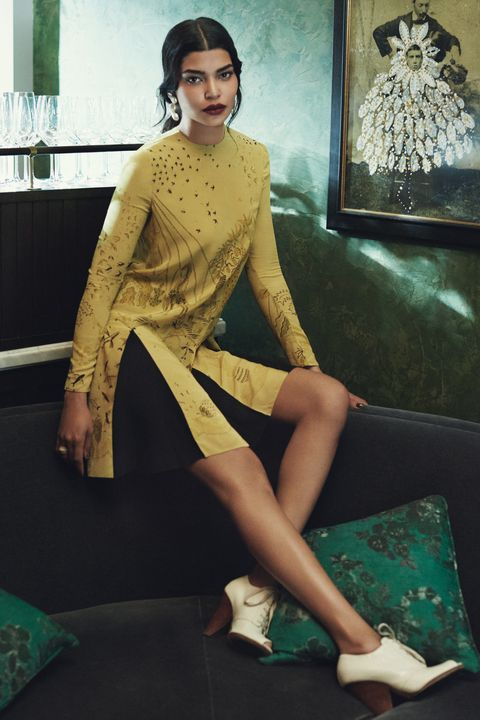 "<p>Loose fits, drop waists, and slightly flared skirts felt daring in the '20s. The shape feels a little retro now, but still reads just as chic. </p><p><em data-redactor-tag=""em"" data-verified=""redactor"">Valentino dress, $4,250, <a href=""http://www.valentino.com/us"" target=""_blank"" data-tracking-id=""recirc-text-link"">valentino.com</a>; IRO Ashville Jacket, $1,200, <a href=""http://www.iroparis.com"" target=""_blank"" data-tracking-id=""recirc-text-link"">iroparis.com</a>; Dolce & Gabbana shoes, courtesy of Albright Fashion Library; Baker & Black Sandro Day to Night Earrings, $4,500, <a href=""https://www.bakerandblack.com/shop/sandro-day-to-night-earrings"" target=""_blank"" data-tracking-id=""recirc-text-link"">bakerandblack.com</a>; Aurelie Bidermann Caftan Moon Ring, $230, <a href=""http://aureliebidermann.com/edito/fr/"" target=""_blank"" data-tracking-id=""recirc-text-link"">aureliebidermann.com</a>; Aoko Su Two Moons Ring, $225, <a href=""http://aokosu.com/store?category=RINGS"" target=""_blank"" data-tracking-id=""recirc-text-link"">aokosu.com</a>; Tuleste Enamel Channel Rings, $50, <a href=""http://www.tuleste.com"" target=""_blank"" data-tracking-id=""recirc-text-link"">tuleste.com</a></em></p><p><span data-redactor-tag=""span"" data-verified=""redactor""></span></p>"