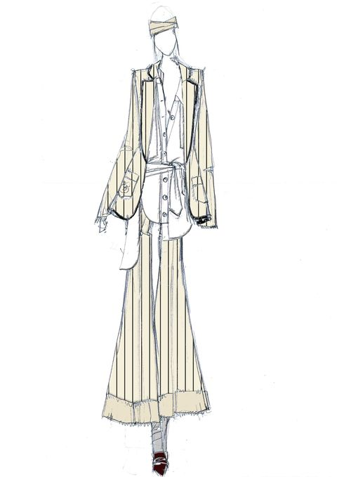 Sleeve, Collar, Textile, Standing, Formal wear, Style, Costume design, Fashion illustration, Beige, Vintage clothing,