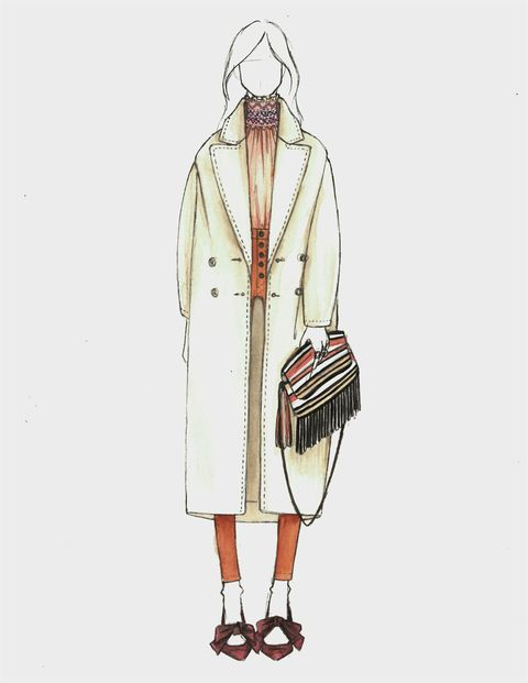 Sleeve, Textile, Standing, Collar, Style, Fashion, Bag, Pattern, Costume design, Fashion illustration,