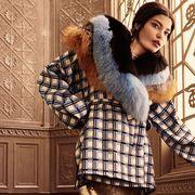 Human, Sleeve, Textile, Winter, Pattern, Fur clothing, Plaid, Street fashion, Fashion, Jacket,