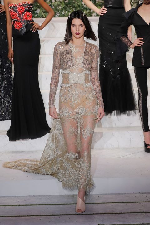 Kendall Jenner In Naked Dress At La Perla Fall 2017 Nyfw -8076