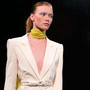 Ear, Collar, Sleeve, Coat, Outerwear, Earrings, Jewellery, Formal wear, Blazer, Fashion,