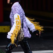 Sleeve, Street fashion, Denim, Waist, Sweater, Top, Fashion model, Fashion design, Leather, Boot,