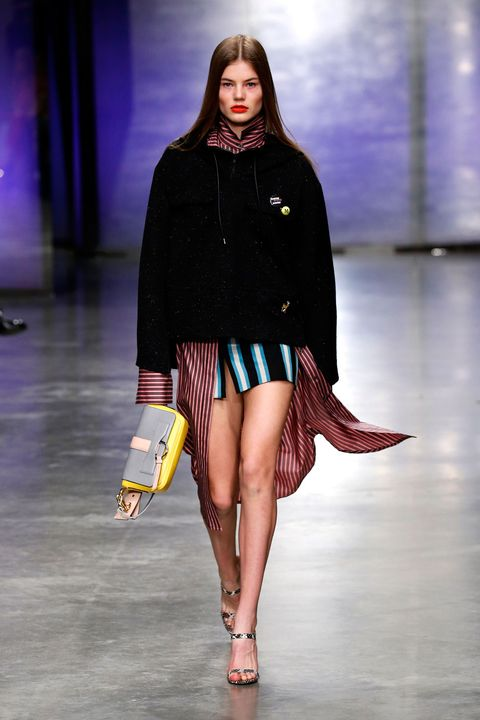 Clothing, Fashion show, Sleeve, Human leg, Shoulder, Runway, Joint, Outerwear, Fashion model, Style,