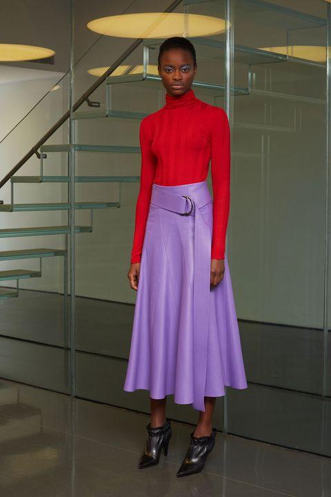 Sleeve, Shoulder, Magenta, Waist, One-piece garment, Fashion, Purple, Light fixture, Lavender, Street fashion,