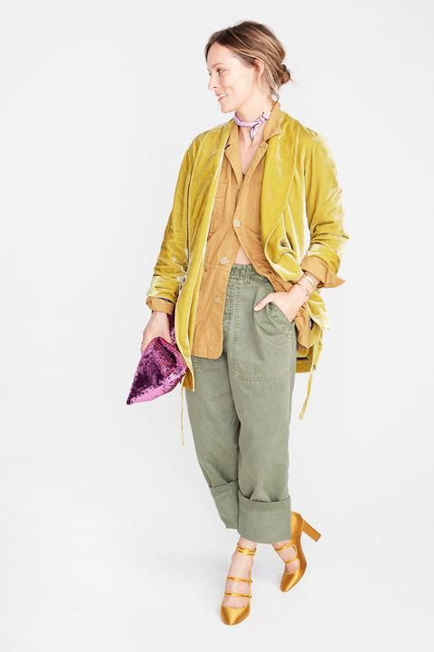 Yellow, Sleeve, Trousers, Shoulder, Collar, Textile, Outerwear, Style, Purple, Magenta,