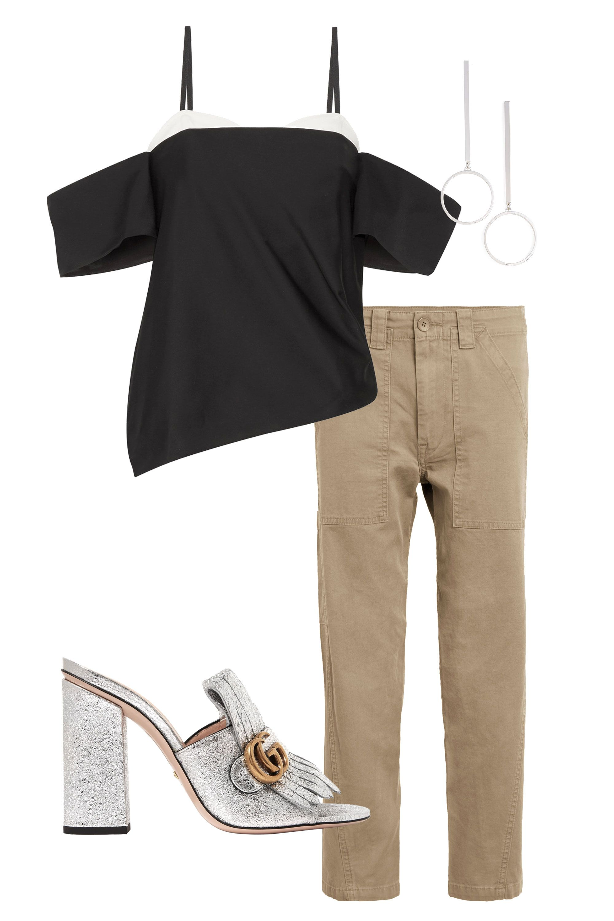 "<p>Don't let the color fool you—khaki pants can be just as chic as traditional black once the sun goes down. Just add a metallic shoe, bold earrings, and a standout top.</p><p><span class=""redactor-invisible-space"" data-verified=""redactor"" data-redactor-tag=""span"" data-redactor-class=""redactor-invisible-space""></span></p><p><span class=""redactor-invisible-space"" data-verified=""redactor"" data-redactor-tag=""span"" data-redactor-class=""redactor-invisible-space""><em data-redactor-tag=""em""><em data-redactor-tag=""em"">Vince military pants, $245, <a href=""http://shop.nordstrom.com/s/vince-military-pants/4549120?origin=keywordsearch-personalizedsort&fashioncolor=OLIVE"" target=""_blank"" data-tracking-id=""recirc-text-link"">nordstrom.com</a>; Tibi top, $395, <a href=""http://shop.nordstrom.com/s/tibi-stretch-faille-contrast-off-the-shoulder-corset-top/4498015?origin=coordinating-4498015-0-2-ZERO-Rich_Relevance_Recs_API-SolrSearchToView&recs_type=coordinating&recs_productId=4498015&recs_categoryId=0&recs_productOrder=2&recs_placementId=ZERO&recs_strategy=SolrSearchToView&recs_source=Rich_Relevance_Recs_API&recs_referringPageType=search_page&recs_turl=a%3D469cc5818c1eb6ac%26cak%3D3c86c35d5f315680%26vg%3D2a58bc60-aff9-4865-8291-295690cf46e7%26stid%3D98%26pti%3D2%26pa%3D2040%26pos%3D1%26p%3D5274750%26channelId%3D3c86c35d5f315680%26s%3D0bcd9d3d-3db3-4135-98c9-7dca108e6639%26u%3D31f554a48b1343d7bf76e76d21e9f143"" target=""_blank"" data-tracking-id=""recirc-text-link"">nordstrom.com</a>; Gucci shoes, $795, <a href=""https://www.gucci.com/us/en/pr/women/womens-shoes/womens-slides-mules/metallic-leather-mid-heel-slide-p-453495DKT008106?position=16&listName=ProductGridComponent&categoryPath=Women/Womens-Shoes/Womens-Slides-Mules"" target=""_blank"" data-tracking-id=""recirc-text-link"">gucci.com</a>; Jenny Bird earrings, $65, <a href=""http://shop.nordstrom.com/s/jenny-bird-edie-hoop-earrings/4532663?origin=keywordsearch-personalizedsort&fashioncolor=SILVER"" target=""_blank"" data-tracking-id=""recirc-text-link"">nordstrom.com</a></em></em><br></span></p>"