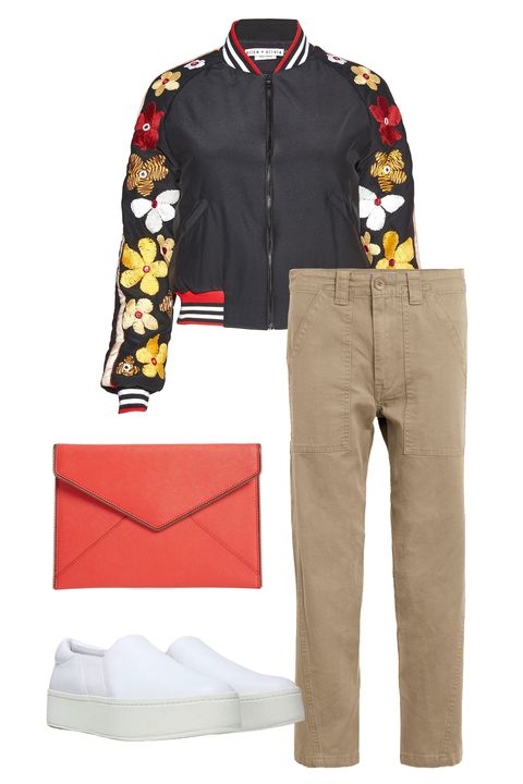 "<p> Keep your khakis cool with a sporty bomber jacket and a hip little clutch. Opt for slip-on sneakers that veer&nbsp;sleek rather than gym-ready.</p><p><span class=""redactor-invisible-space"" data-verified=""redactor"" data-redactor-tag=""span"" data-redactor-class=""redactor-invisible-space""></span></p><p><span class=""redactor-invisible-space"" data-verified=""redactor"" data-redactor-tag=""span"" data-redactor-class=""redactor-invisible-space""><em data-redactor-tag=""em""><em data-redactor-tag=""em"">Vince military pants, $245,&nbsp;<a href=""http://shop.nordstrom.com/s/vince-military-pants/4549120?origin=keywordsearch-personalizedsort&amp;fashioncolor=OLIVE"" target=""_blank"" data-tracking-id=""recirc-text-link"">nordstrom.com</a>; Alice + Olivia jacket, $595, <a href=""http://shop.nordstrom.com/s/alice-olivia-tony-silk-bomber-jacket/4536211?origin=keywordsearch-personalizedsort&amp;fashioncolor=BLACK%20MULTI"" target=""_blank"" data-tracking-id=""recirc-text-link"">nordstrom.com</a>; Vince sneakers, $225, <a href=""http://shop.nordstrom.com/s/vince-warren-slip-on-sneaker-women/4421543?origin=keywordsearch-personalizedsort&amp;fashioncolor=PLASTER%20LEATHER"" target=""_blank"" data-tracking-id=""recirc-text-link"">nordstrom.com</a>; Rebecca Minkoff clutch, $95, <a href=""http://shop.nordstrom.com/s/rebecca-minkoff-leo-envelope-clutch/3853690?origin=keywordsearch-personalizedsort&amp;fashioncolor=BLOOD%20ORANGE%2F%20GUNMETAL"" target=""_blank"" data-tracking-id=""recirc-text-link"">nordstrom.com</a></em></em><br></span></p>"