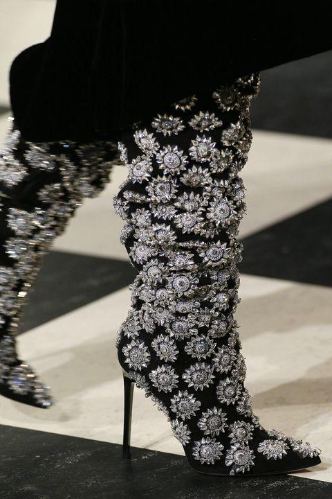 Footwear, High heels, Leg, Black-and-white, Fashion, Shoe, Human leg, Joint, Monochrome, Boot,