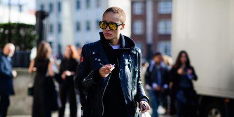 Eyewear, Glasses, Vision care, Trousers, Coat, Sunglasses, Bag, Outerwear, Jacket, Street,