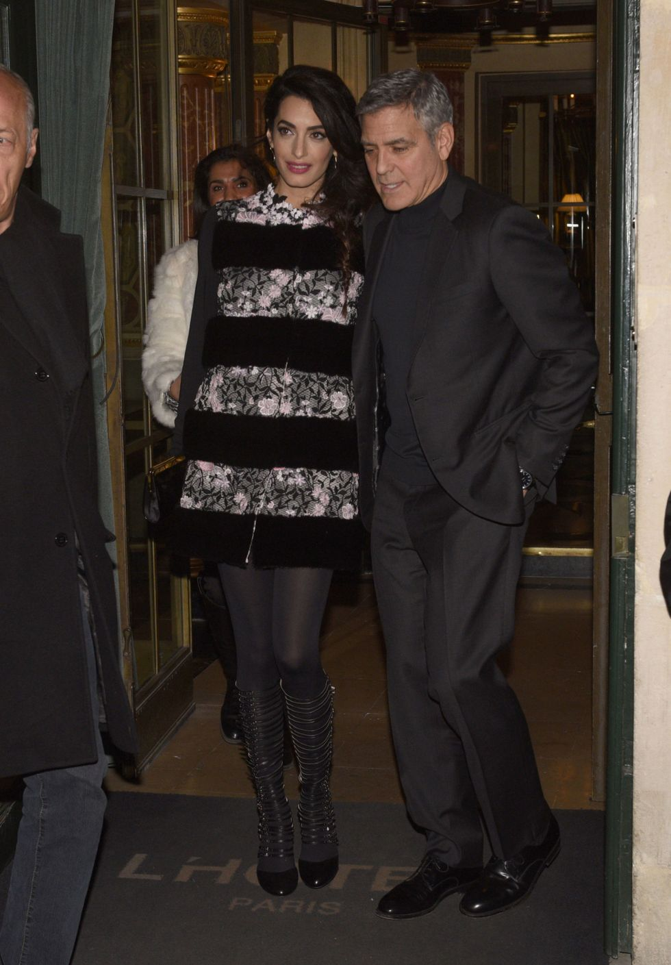 February 25, 2017 With George Clooney, leaving their hotel in Paris.