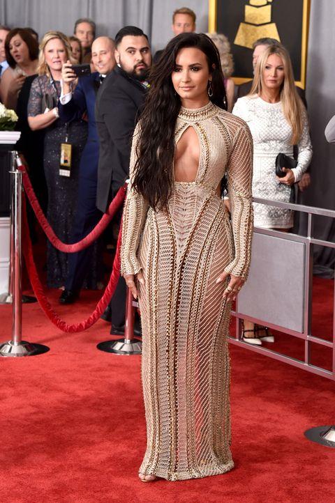 Demi Lovato on Wearing See-Through Julien Macdonald Crochet Dress ...