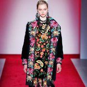 Clothing, Red, Pattern, Style, Magenta, Flooring, Fashion, Carpet, Fashion model, Fashion design,
