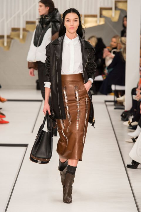 Clothing, Brown, Outerwear, Bag, Fashion show, Style, Runway, Fashion accessory, Leather, Fashion model,