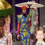 Purple, Headgear, Fashion, Magenta, Umbrella, Fashion design, Costume design, Haute couture, Day dress, Embellishment,