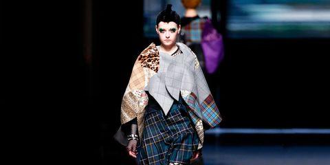 Plaid, Textile, Tartan, Fashion show, Style, Pattern, Street fashion, Fashion, Fashion model, Model,