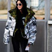 Eyewear, Vision care, Sleeve, Coat, Jacket, Outerwear, Sunglasses, Style, Street fashion, Collar,