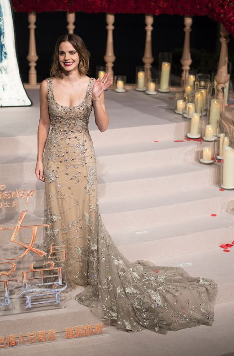 Emma Watson Wears Sheer Cloak and Jewel Dress to Shanghai Beauty and ...