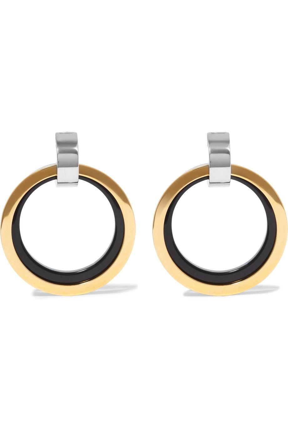 "<p>Marni, Gold and Silver Enamel Clip Earrings, $540; <a href=""https://www.net-a-porter.com/us/en/product/807872/marni/gold-and-silver-tone-enamel-clip-earrings"">net-a-porter.com</a></p>"