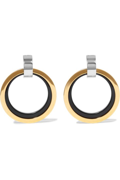 "<p>Marni, Gold and Silver Enamel Clip Earrings, $540; <a href=""https://www.net-a-porter.com/us/en/product/807872/marni/gold-and-silver-tone-enamel-clip-earrings"">net-a-porter.com</a></p>"