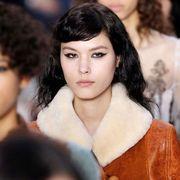 Hair, Hairstyle, Beauty, Fashion, Lip, Black hair, Fur, Fashion model,