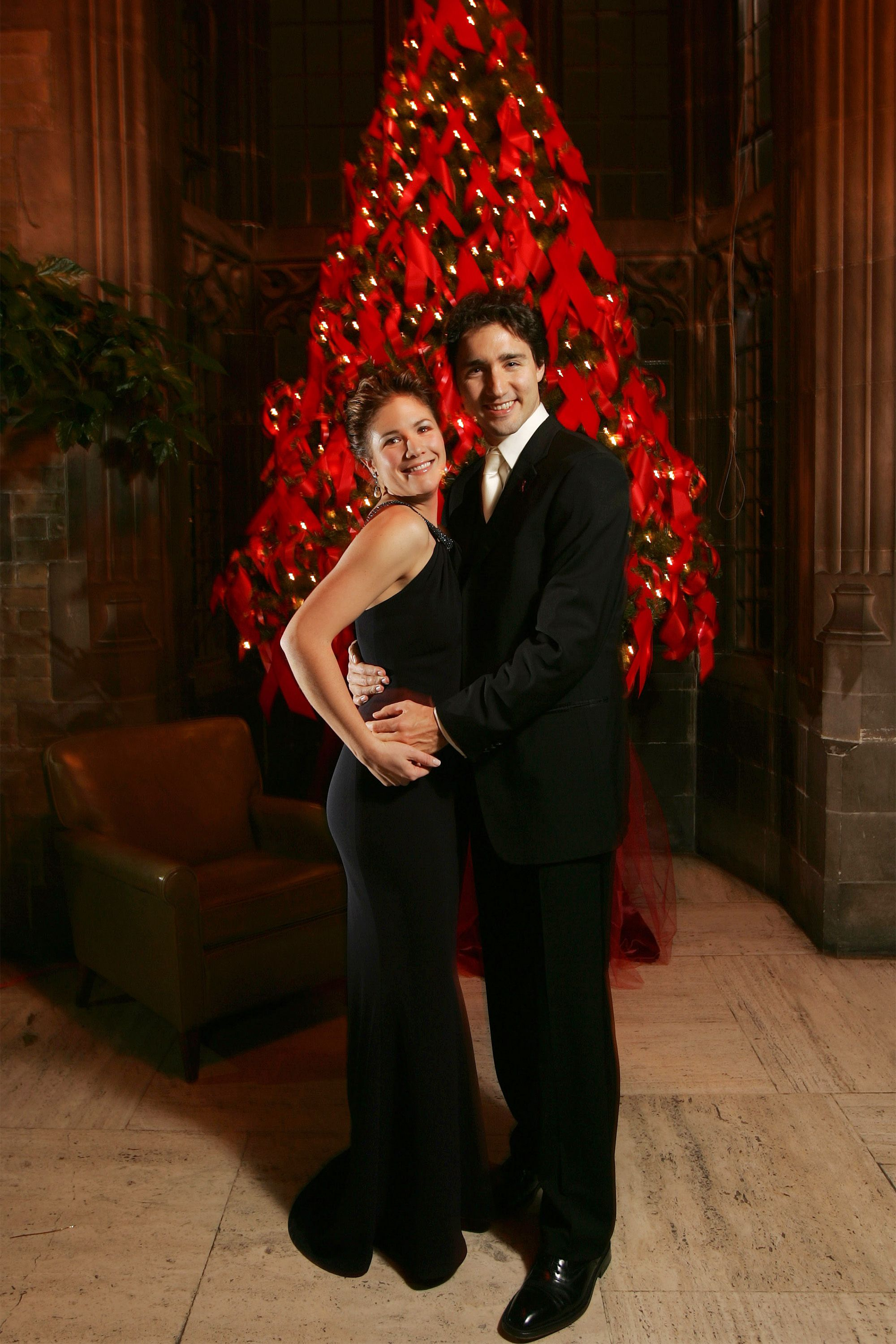 BLOOR ENTERTAINS WRAP---11/30/05--Sophie and Justin Trudeau at the wrap after the Bloor Street entertains fundraiser at Hart House on the University of Toronto , November 30, 2005. (Photo by Steve Russell/Toronto Star via Getty Images)