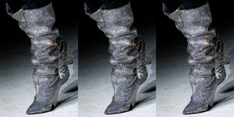 8939cb64ee4 They were Insta-bait: The slouchy, knee-high, glitter boots that came down  the runway at the fall 2017 Saint Laurent show just days ago flooded social  feeds ...