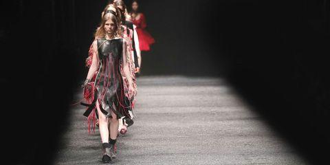 Dress, Fashion, Fashion model, Costume design, One-piece garment, Day dress, High heels, Model, Haute couture, Long hair,